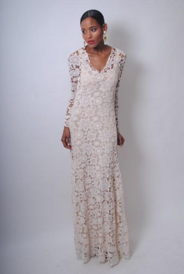 Vintage Inspired Ivory Lace Crochet Sheer Simple Wedding