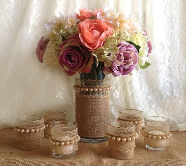 Burlap And Lace Vase And Tea Candles 2142937 Weddbook