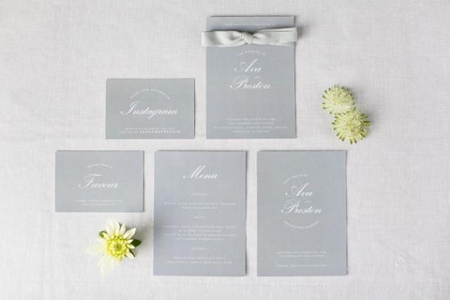 free elegant white grey wedding stationery printable from itty