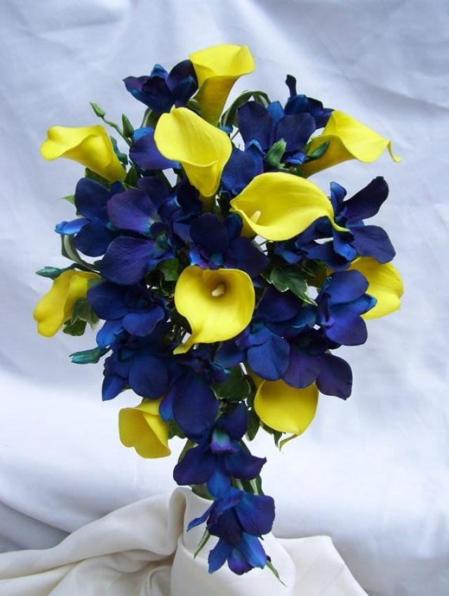 Wedding flowers crescent gardens weddbook wedding photo tracys cascade bridal bouquet with yellow calla lilies blue violet dendrobuim orchids mightylinksfo