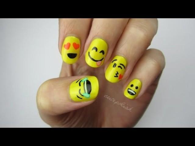 Маникюр для коротких ногтей смайлики