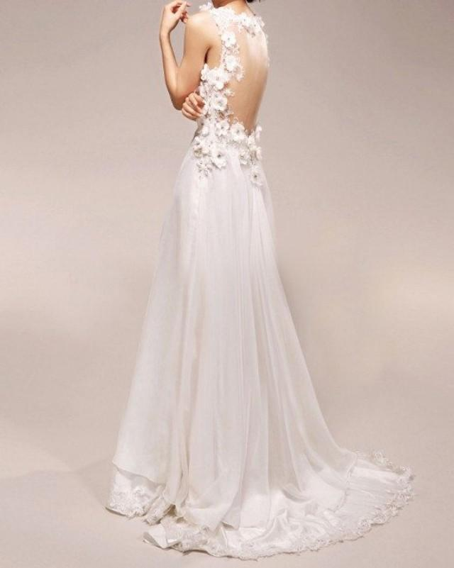 Bridal Gowns With Flowers : Reserved for colleen vintage wedding dress a line