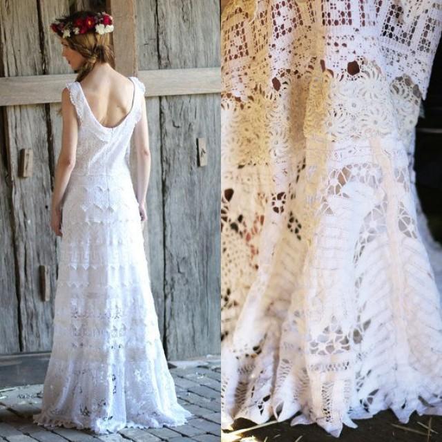 Reserved For Jackie Vintage Art Deco Cotton Battenburg Antique Crochet Lace Maxi Dress M