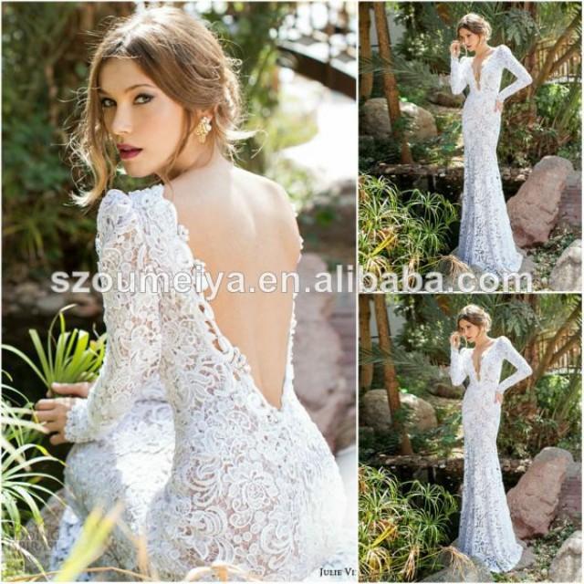 Low back chiffon wedding dress