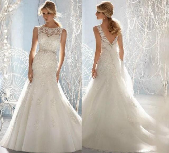 New white ivory lace wedding dress custom size 2 4 6 8 10 for Wedding dresses size 28