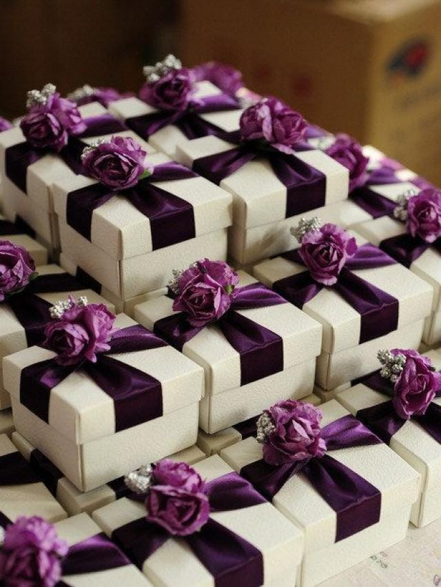 White Wedding Favor Candy Box With Purple Ribbon And Purple Silver Flowers DIY Party Paper