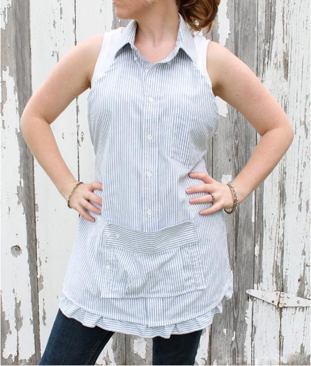How to make men 39 s dress shirt apron sew handimania for Make a dress shirt