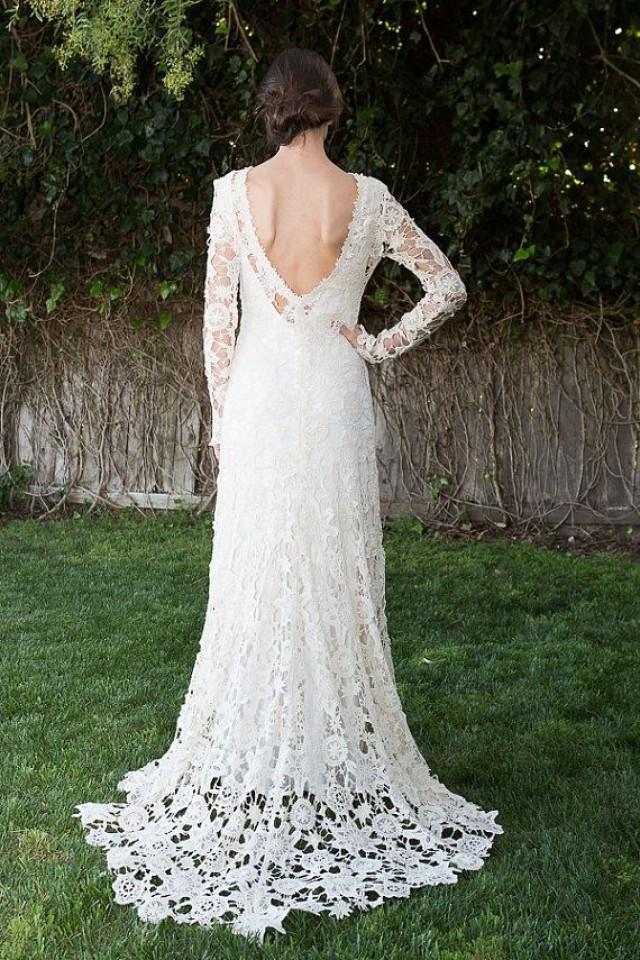 Low back bohemian wedding dress crochet lace dress long for Vintage lace wedding dress open back