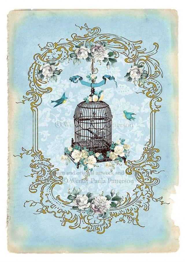 Vintage Style Paintings Bird Cage Art   www.im...
