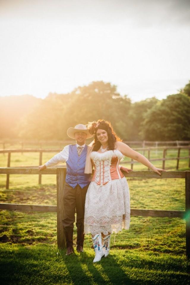 Fancy Dress Cowboy Wedding Leanne Amp Kristian Weddbook