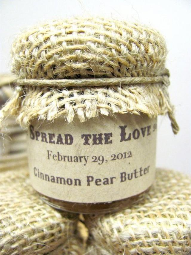 Custom wedding favor farm wedding jam favors with burlap cover 1 5 oz