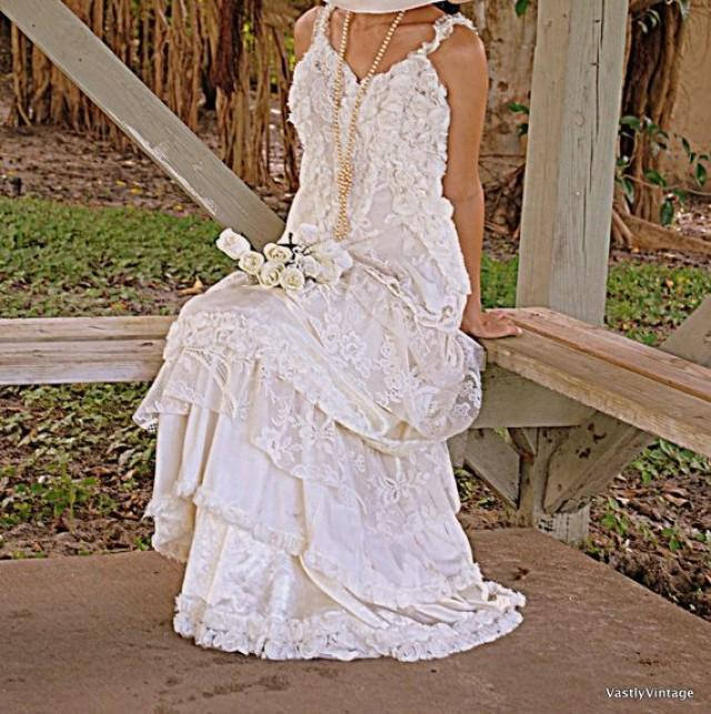 Romantic bohemian lace ruffled dress reclaimed ivory white for Bohemian white wedding dress