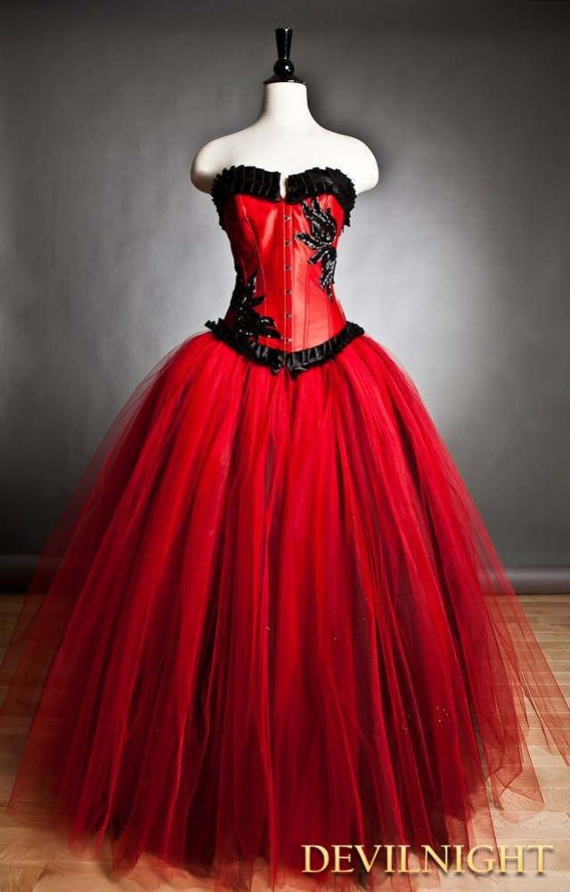 wedding photo - Red and Black Romantic Gothic Corset Prom Gown