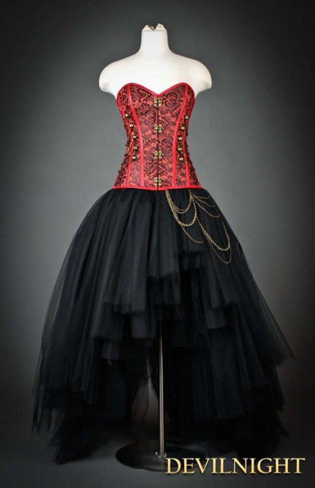wedding photo - Red and Black Gothic Steampunk Corset High-Low Prom Party Dress