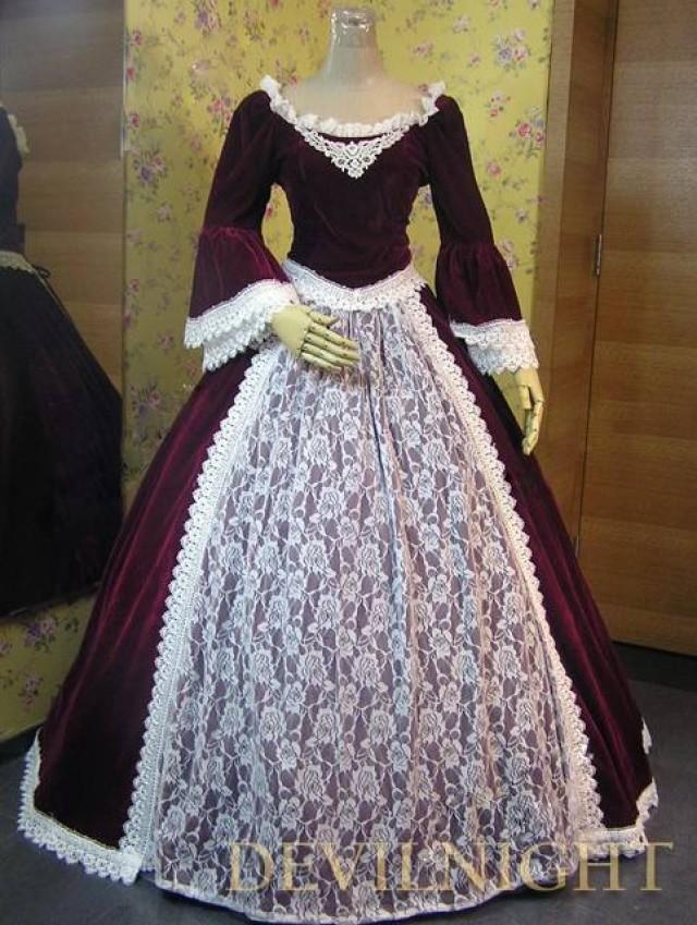 wedding photo - Wine Red Velvet Lace Victorian Ball Gowns