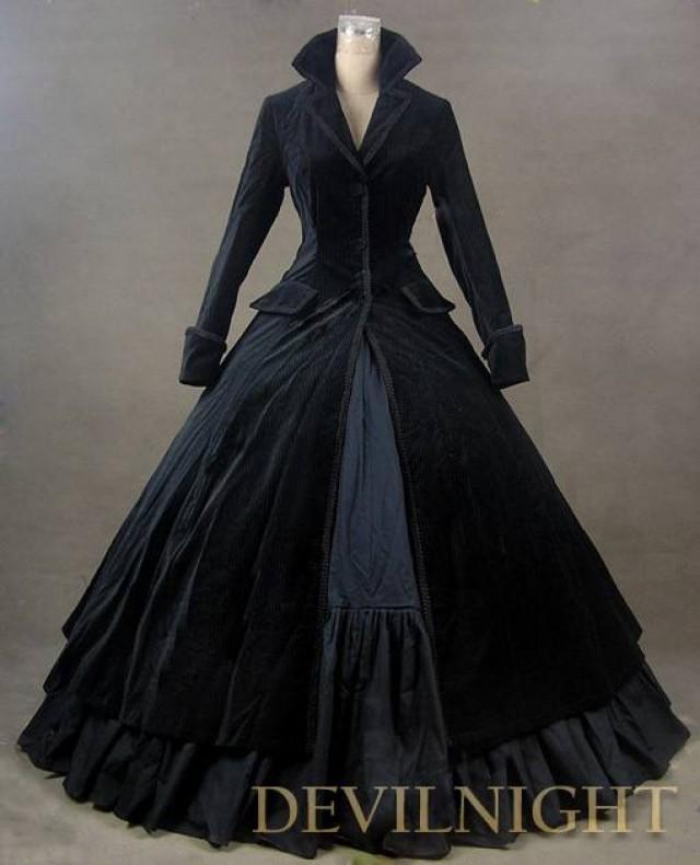 wedding photo - Black Velvet Vintage Winter Outfit Victorian Dress