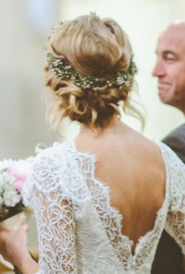 Twisted Low Bun With Flower Crown - A Twisted Low Bun Wedding ...