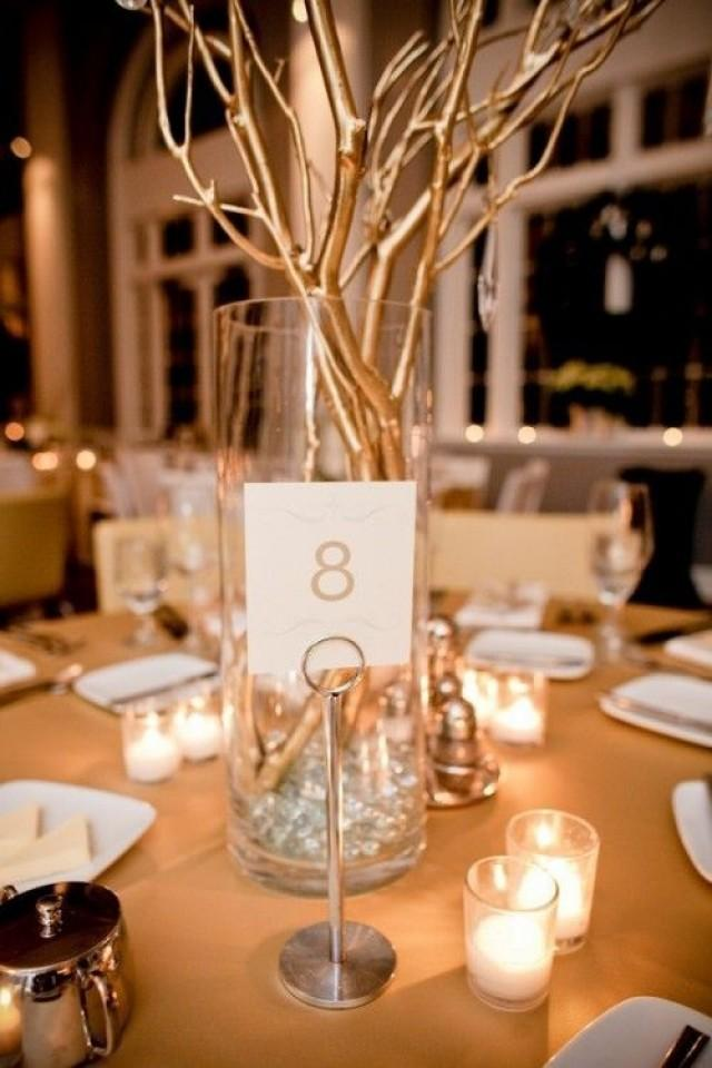 Silver wedding gold branch centerpiece