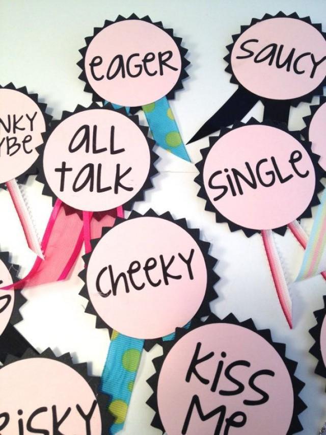 Bachelorette party pins name tags bachelorette sash for Bachelorette party decoration ideas diy