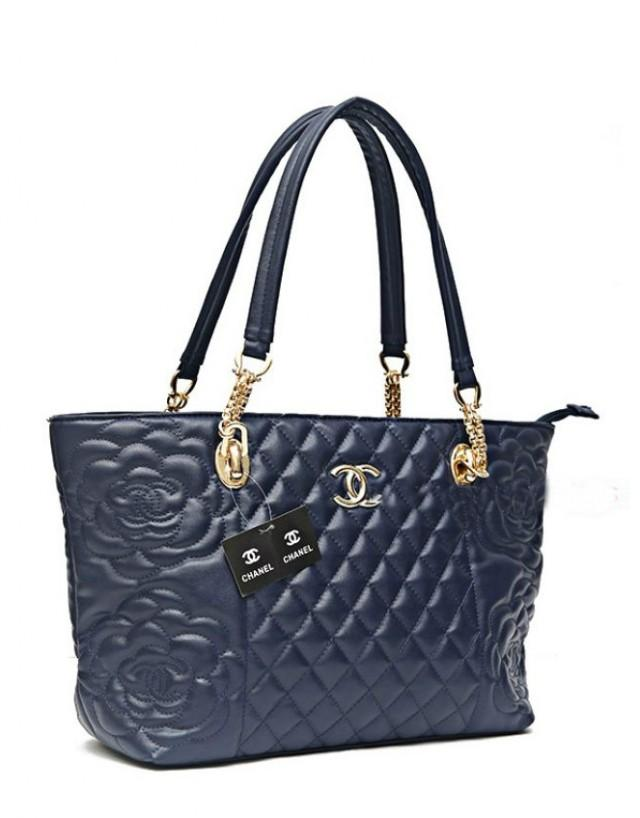 wedding photo - CHANEL Blue Women's Tote Hand bag with Flexible Handles