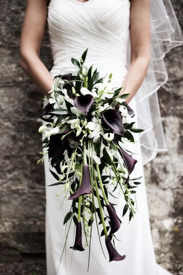 Black And White Calla Lily Cascade Bouquet 2157647 Weddbook