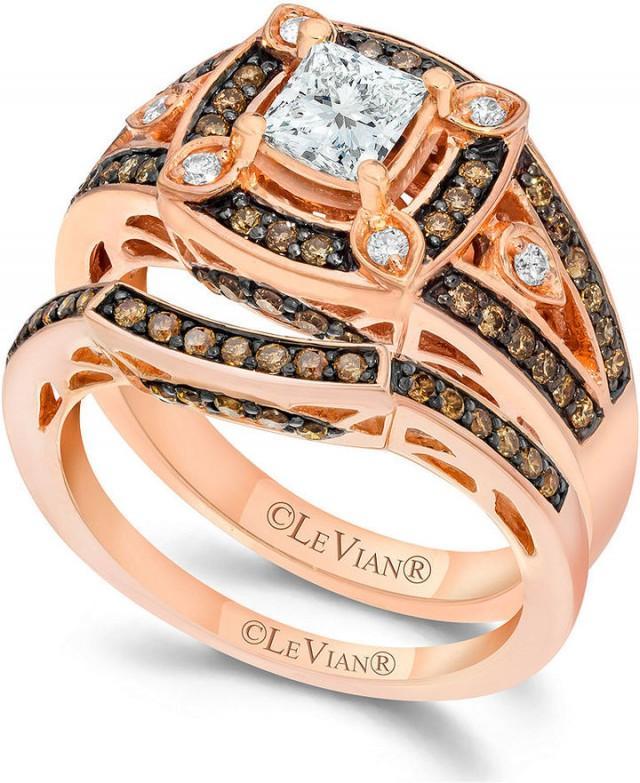 le vian chocolate and white diamond enement ring set in 14k - Chocolate Diamond Wedding Ring