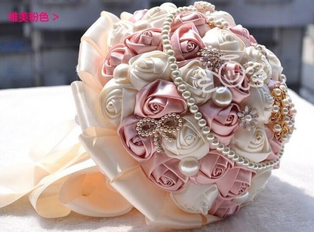 Handmade Ivory Satin Rose Silk Crystal Brooch Flower Bride