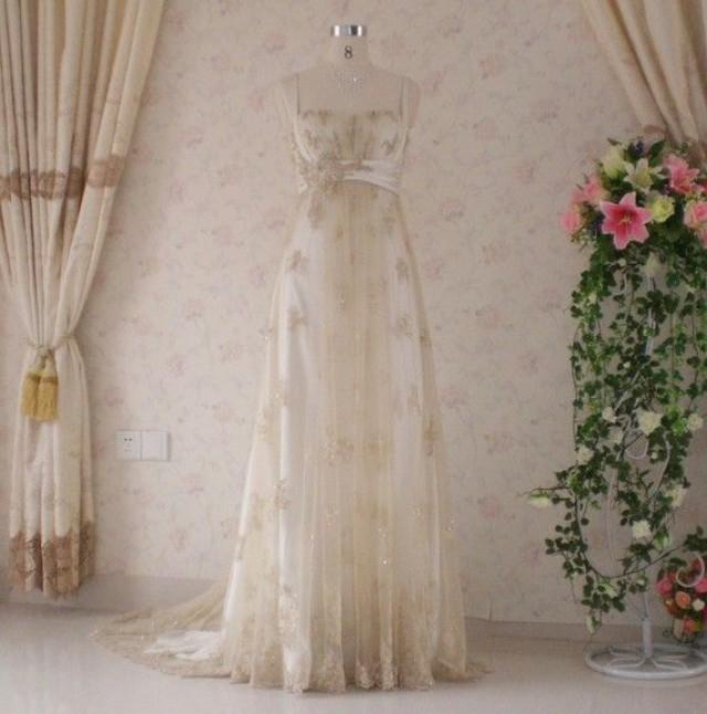 Vintage Wedding Dresses Gold : Vintage inspired wedding dress with light gold lace and charmeuse