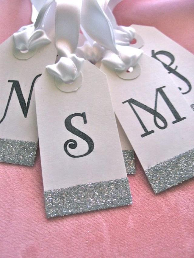 Bridesmaids' Gift Tags, Black, White, Silver Wedding Favor Gift ...