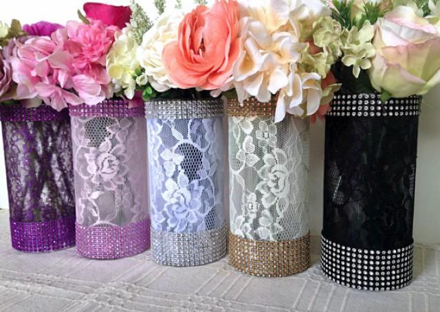 10x Lace And Rhinestone Covered Gl Vases Wedding Bridal Shower Tea Party Table Centerpieces 2159671 Weddbook