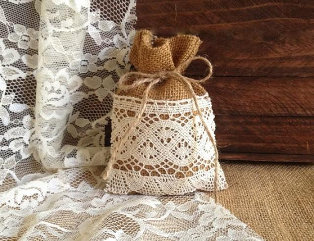 10 rustic lace covered burlap favor bags wedding bridal Burlap bag decorating ideas