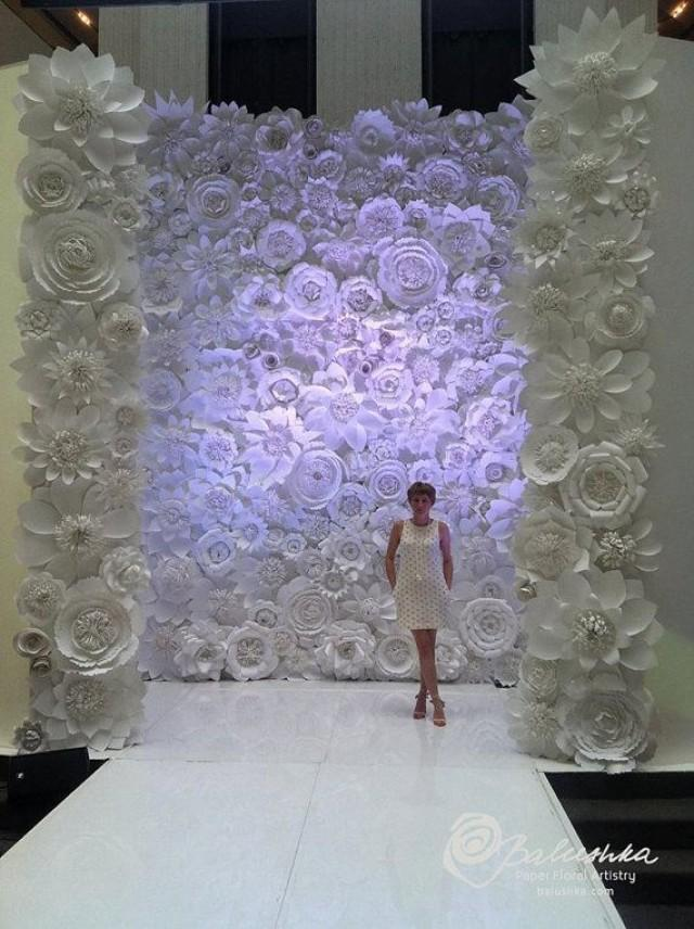 Paper Flower Wall 11' X 16' For Rental White Or Ivory Flowers For Weddings, Window Display ...