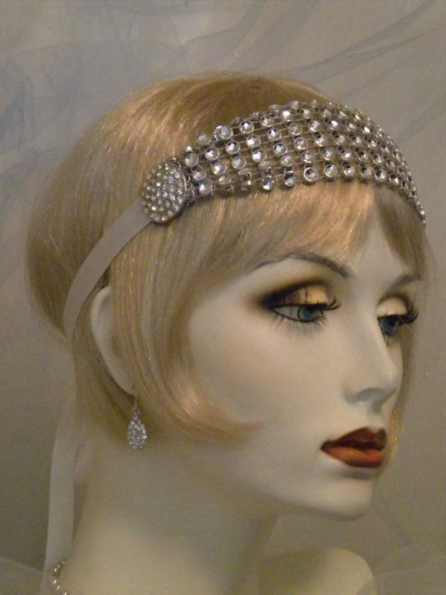 1920s Headpiece Flapper Headband Gatsby Old Hollywood Vintage Style Headband White Silver