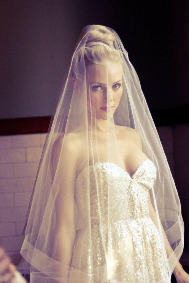 Bridal Drop Wedding Veil With Thick Horse Hair Border