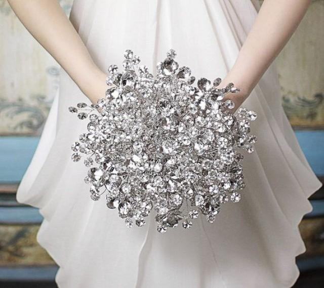 Wedding Bouquets That Are Not Flowers : Bridal bouquet duo of silver mirrored beads and