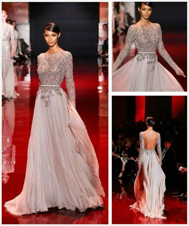 Ln 010 2013 fall winter long sleeve open back floor length for Haute couture sale