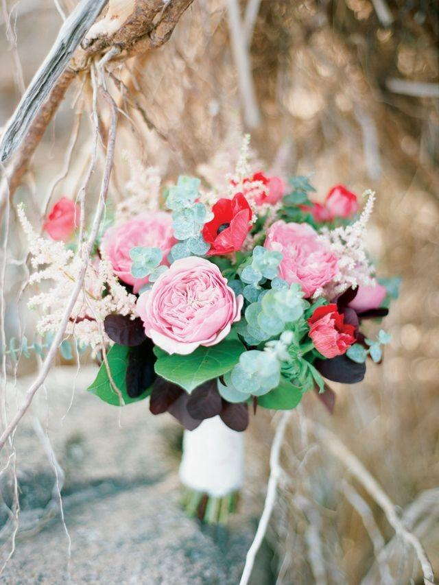 wedding photo - Romantic Berry Wedding Editorial On A Forested Beach
