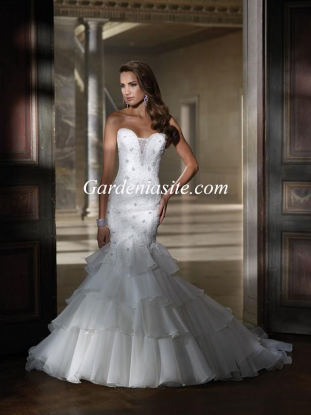 wedding photo - Trumpet/Mermaid Sweetheart Chapel Train Beading Tiered Organza Wedding Dress 2014