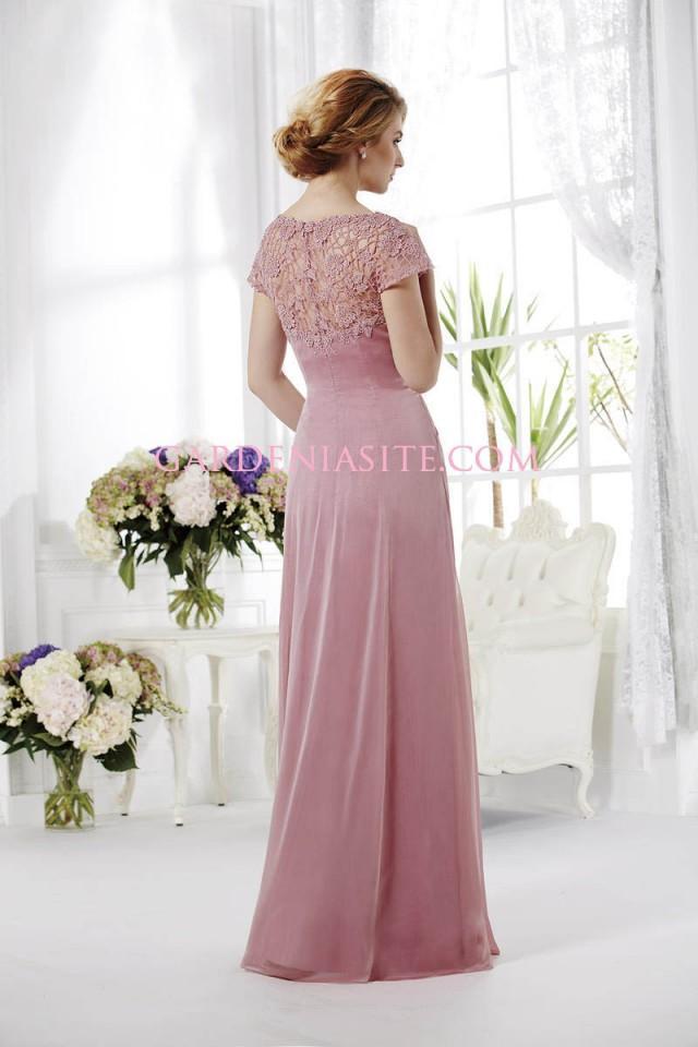 wedding photo - A Line Jewel/Scoop Floor Length Appliques Ruffles/Pleats Tulle Mother of the Bride Dress 2014