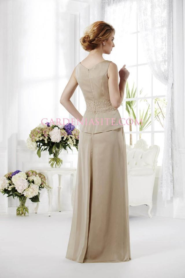 wedding photo - A Line V-neck Floor Length Criss Cross Appliques Beading Ruffles Tulle Mother of the Bride Dress 2014