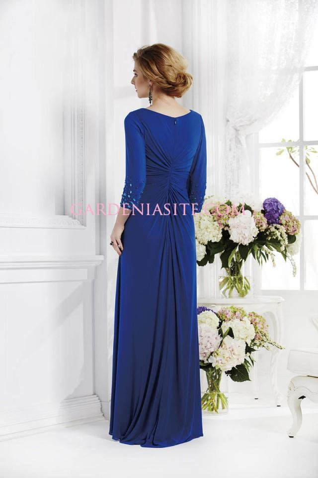 wedding photo - Sheath/Column V-neck Floor Length Rhinestones Criss Cross Chiffon Mother of the Bride Dress 2014