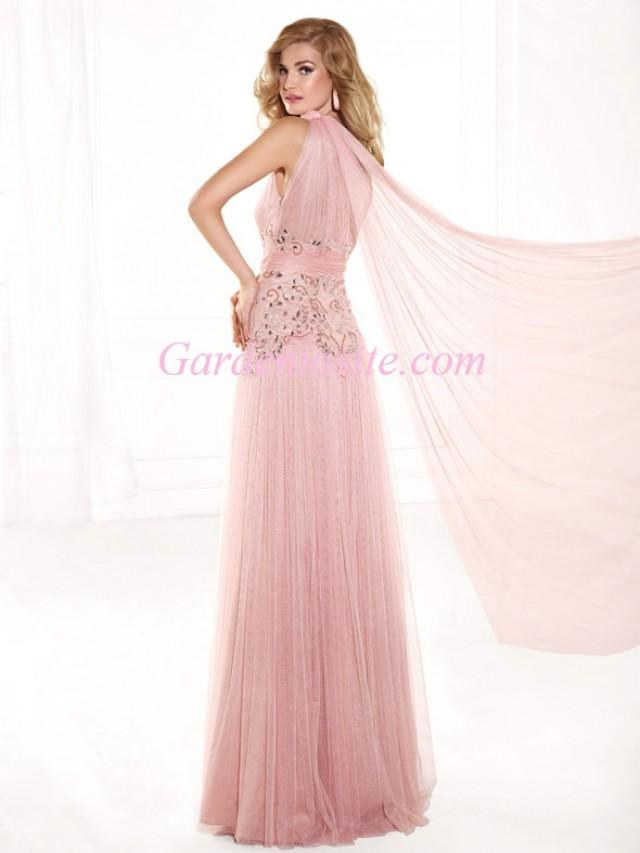wedding photo - Sheath/Column One Shoulder Floor-length Shiny Beading Rhinestones Tulle Formal Dress 2014