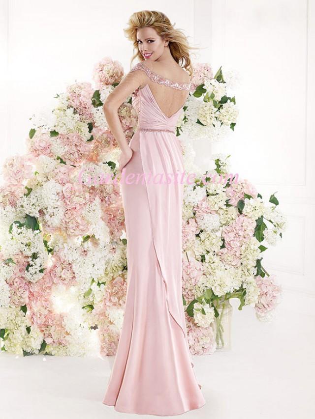wedding photo - Sheath/Column Jewel/Scoop Floor-length Beading Ruffles/Pleats Charmeuse Formal Dress 2014