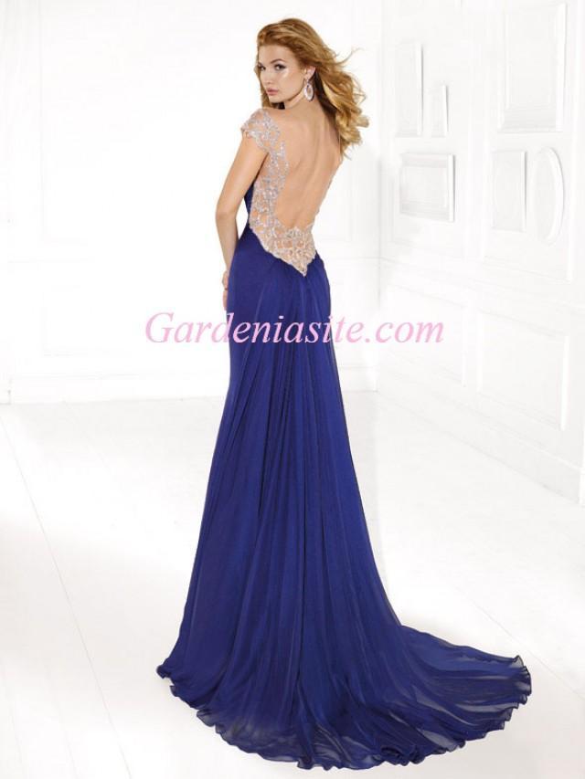 wedding photo - Sheath/Column V-neck Court Train Shiny Beading Crystals Chiffon Formal Dress 2014