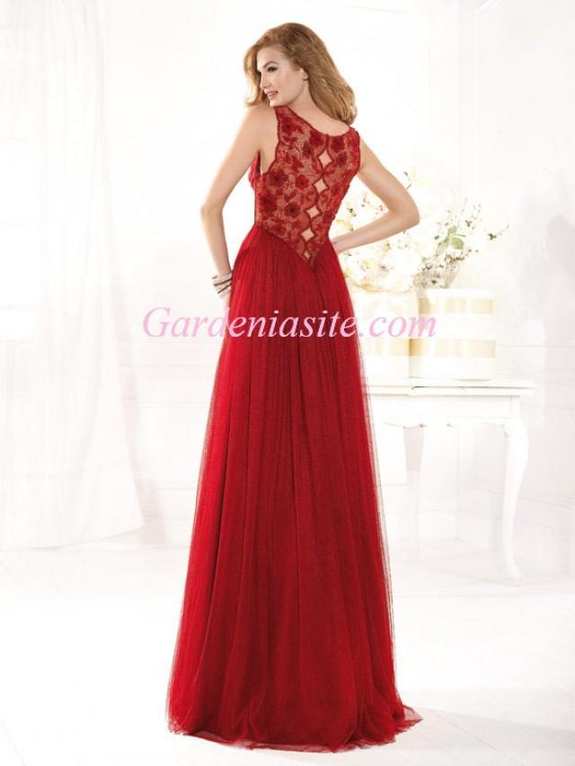 wedding photo - A-line Jewel/Scoop Floor-length Appliques Criss Cross Ruffles/Pleats Tulle Formal Dress 2014