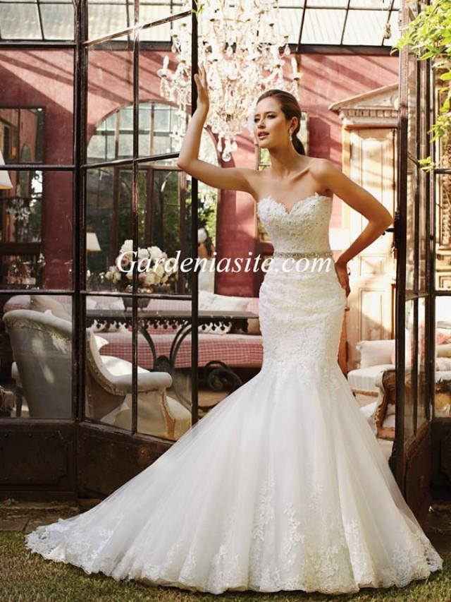 wedding photo - Mermaid/Trumpet Sweetheart Court Train Appliques Shiny Crystals Tulle Wedding Dress 2014
