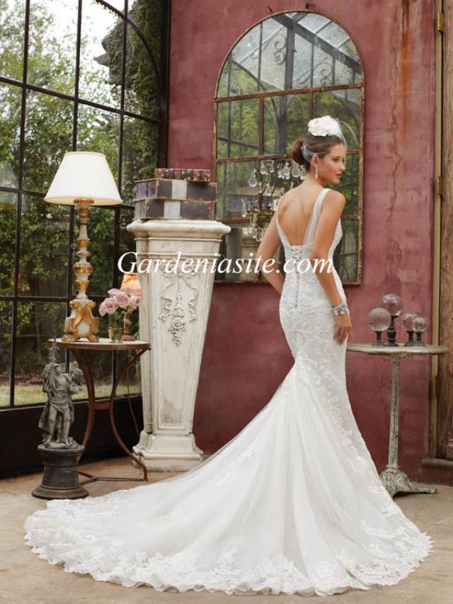 wedding photo - Sheath/Column V-neck Chapel Train Appliques Shiny Crystals Tulle Wedding Dress 2014