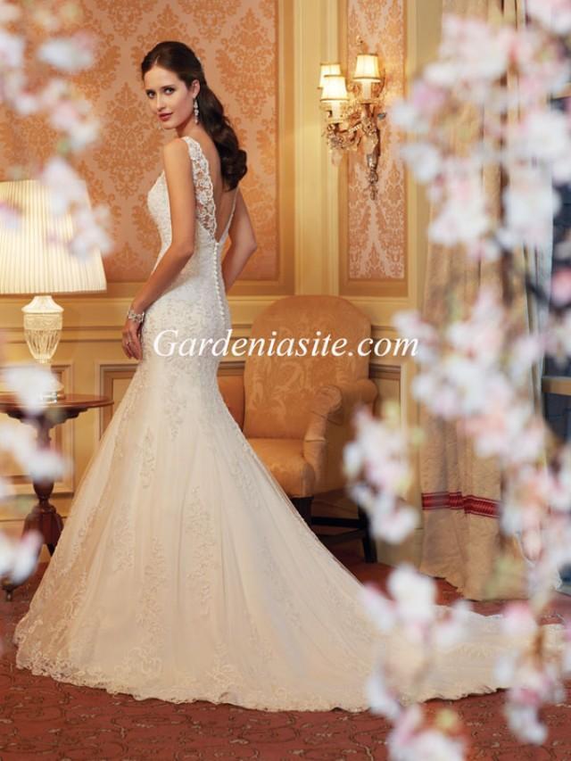 wedding photo - Mermaid/Trumpet Jewel/Scoop Court Train Appliques Shiny Crystals Tulle Wedding Dress 2014