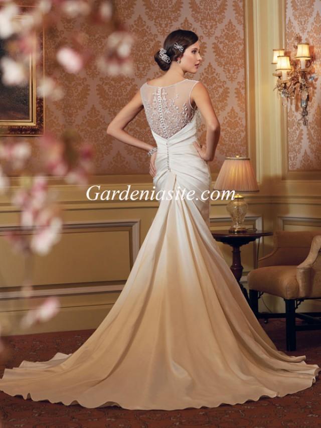 wedding photo - Mermaid/Trumpet Jewel/Scoop Court Train Beading Shiny Crystals Satin Wedding Dress 2014