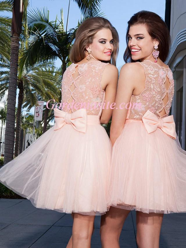 wedding photo - A-line Jewel/Scoop Short/Mini Shiny Beading Pearls Appliques Bow Tulle Cocktail Dress 2014